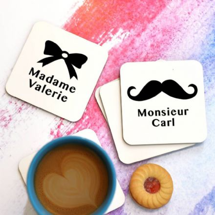 Personalised 'Madame' And 'Monsieur' Coasters